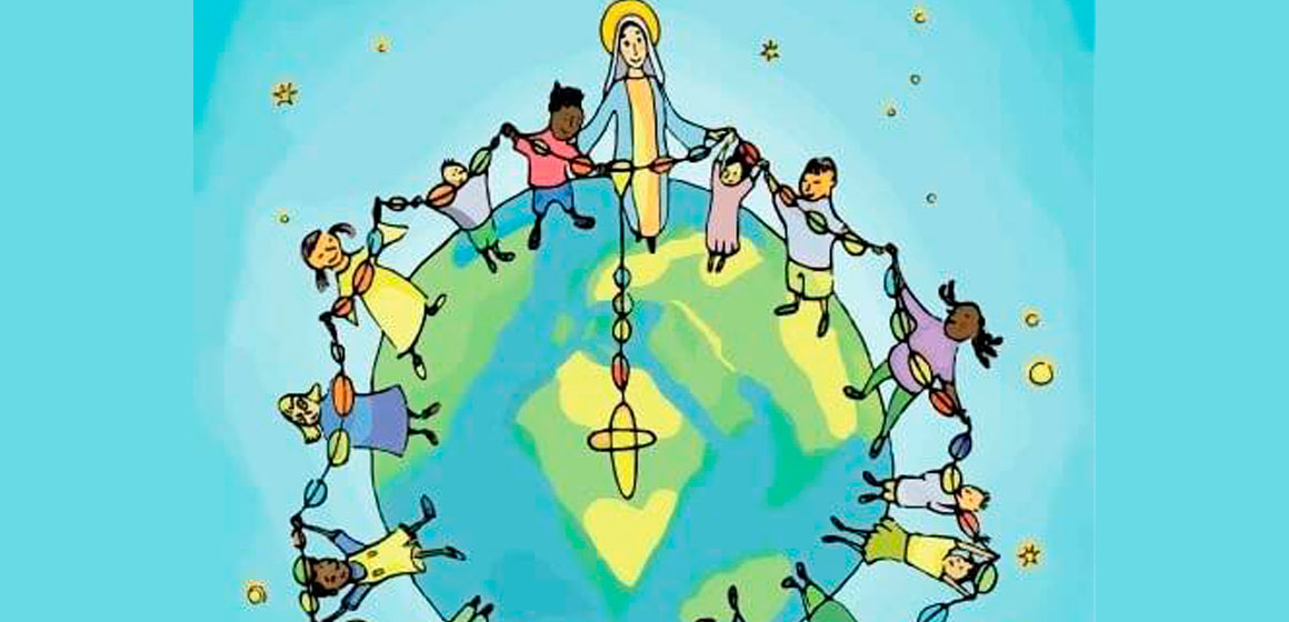 Niños de San Martin se unen, a un millon de niño que rezan el rosario.